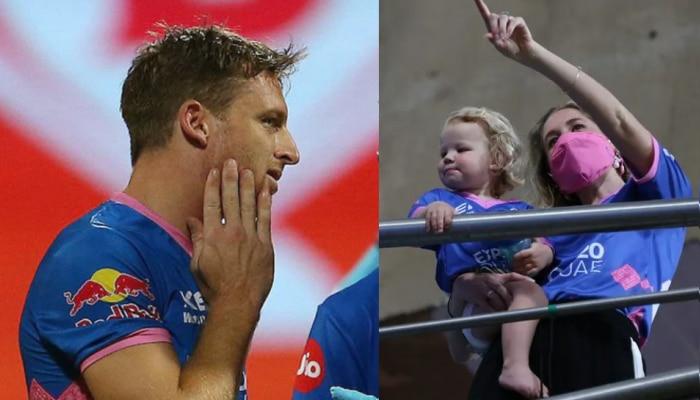 IPL 2021: Jos Buttler के हेलमेट पर लगी गेंद, स्टैंड में बैठी पत्नी और बच्ची को देखकर दिया Emotional रिएक्शन