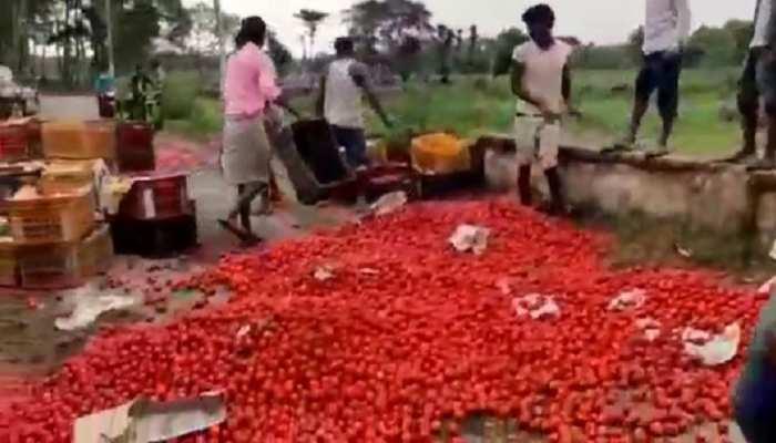 मुजफ्फरपुर: Lockdown में गिरा सब्जी का भाव, किसानों ने सड़क पर फेंका दर्जनों कैरेट टमाटर