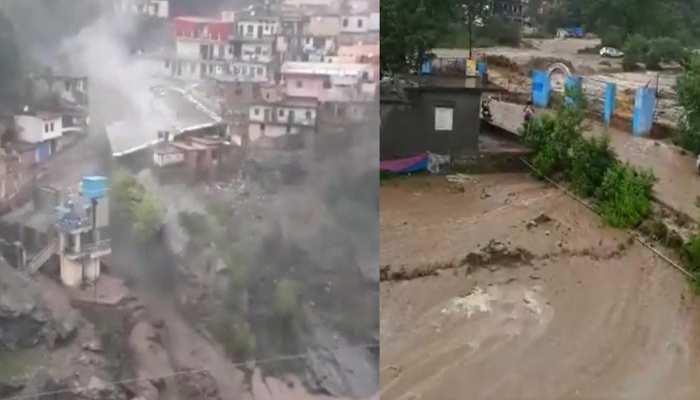 उत्तराखंड के देवप्रयाग में फटा बादल, नगर में भरा मलबा-हुई भारी तबाही