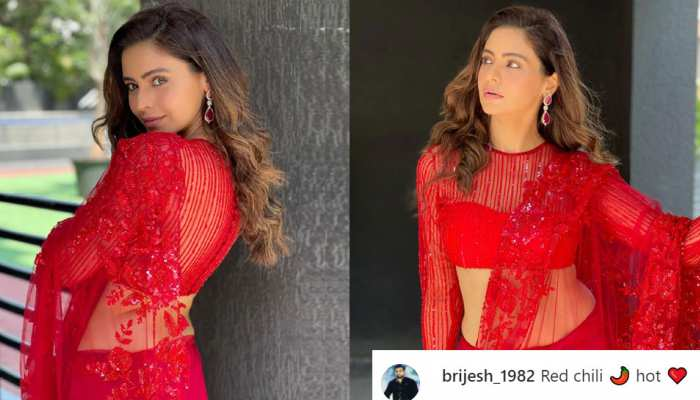 Aamna Sharif showed killer style in a red sari, fans said- Red Chilli