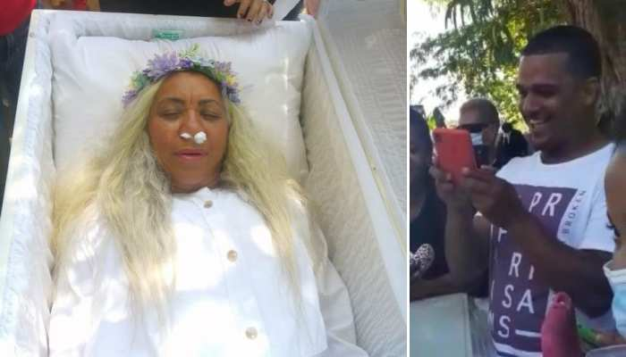 woman's peculiar desire; Created a funeral by giving friends a party, see pics