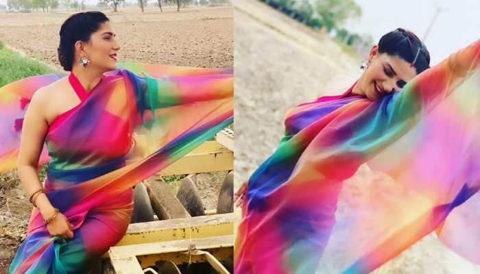Sapna Choudhary looking so beautiful in Multicolor Saree- See Photos
