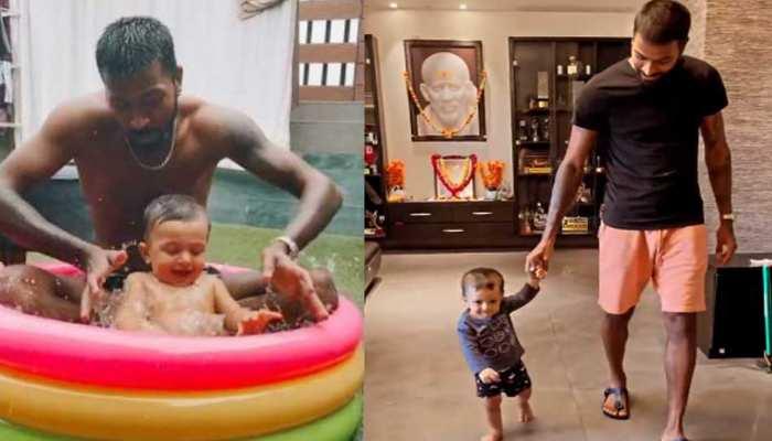 Hardik Pandya ने बेटे Agastya को Mini Swimming Pool में कराया Shower, घर में हुई Walking Practice