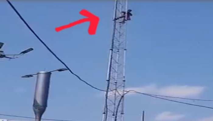 शहर के बीचों-बीच टावर पर चढ़कर युवक ने लगाई फांसी, बेहोशी की हालत में उतारा गया नीचे, जानिए क्या है मामला