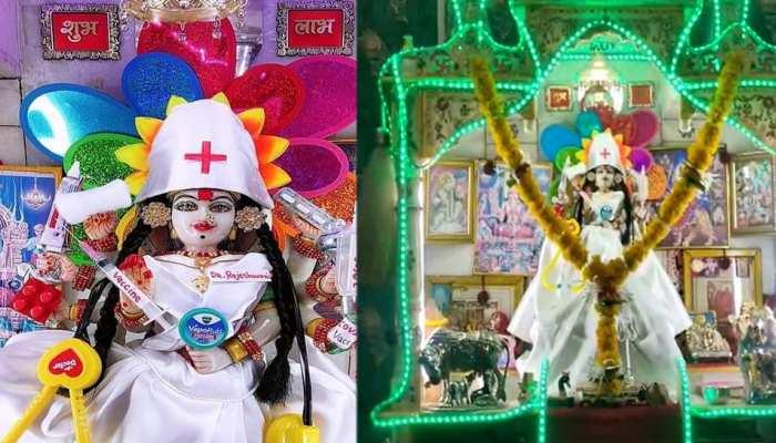 डॉक्टरों के सम्मान में मां दुर्गा की प्रतिमा का हुआ अनोखा श्रृंगार, देखें