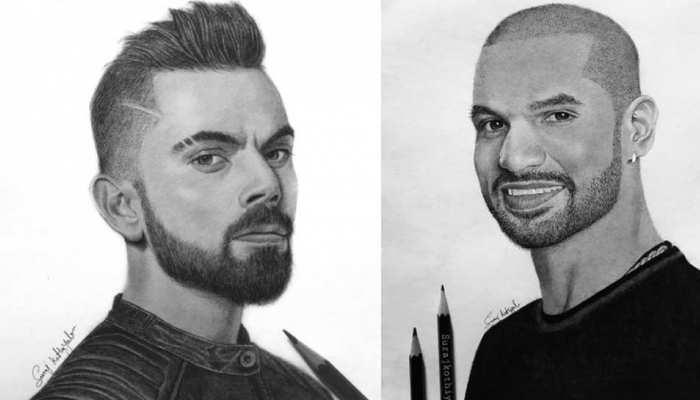 कमाल का है ये Artist, Virat Kohli और Shikhar Dhawan समेत इन क्रिकेटर्स की तस्वीरों को Canvas पर उतारा
