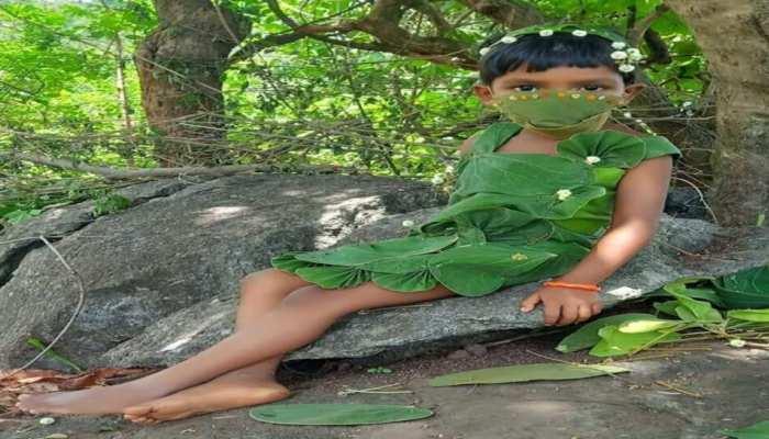 ପତ୍ରରେ ହୋଇଛନ୍ତି ସଜେଇ; Viral ହେଉଛନ୍ତି Leaf Girl