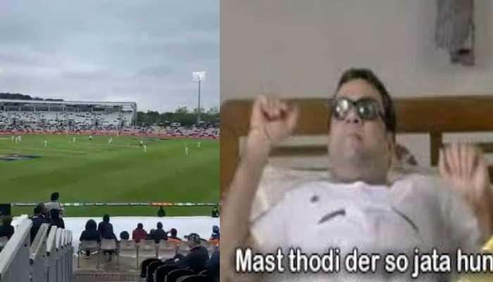 ICC WTC Final: खराब रोशनी की वजह से रुका मैच, तो फैंस ने लिए मजे, कहा-'थोड़ी देर सो जाता हूं'