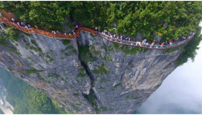 coiling dragon cliff skywalk in china is the most dangerous bridge in the world see weird photo