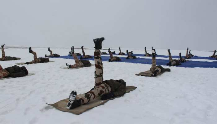 ITBP personnel perform Yoga at an altitude of 18000 feet in Ladakh on International Yoga Day
