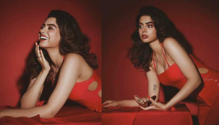 Janhvi kapoor younger sister khushi kapoor looks glamorous in red leather outfit