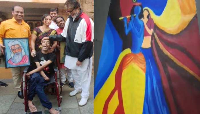 राष्ट्रीय स्तर पर चमका MP का आयुष: पैरों से बनाई पेंटिंग, जीता पहला स्थान, बिग-बी भी हैं इनके दीवाने