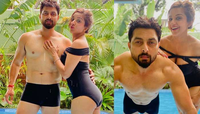 Monalisa gave a bold pose on the poolside with her husband