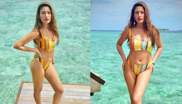 Surbhi Chandna Shares Photos in Super Bold Stripped Bikini As She Takes Dip In The Ocean In Maldives