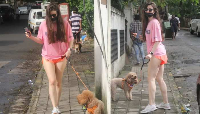 Arbaz Khan Girlfriend Giorgia Andriani Takes dog for walk in super hot orange shorts