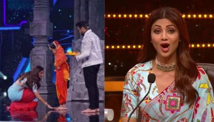 Shilpa Shetty की हुई सुपर डांसर के सेट पर वापसी, कंटेस्टेंट के पैर छूकर की 'कंजक पूजा'