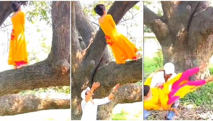 Couple Video: पेड़ की डाल पर पीठ करके खड़ी थी लड़की, अचानक उल्टा कूदी तो लड़के ने यूं किया कैच