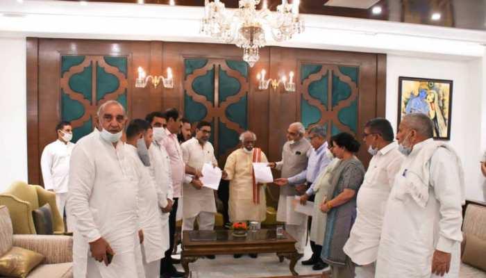 कांग्रेस विधायकों को साथ भूपेंद्र सिंह हुड्डा राज्यपाल से मिले, इस विधेयक पर पुनर्विचार की मांग