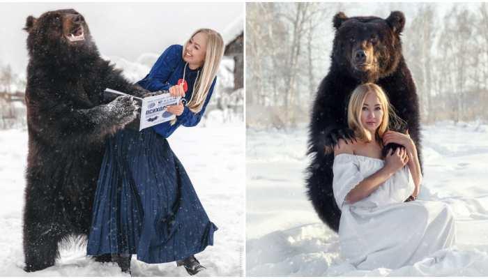 viral photos of russian athlete veronika dichka archie giant bear instagram trending photos