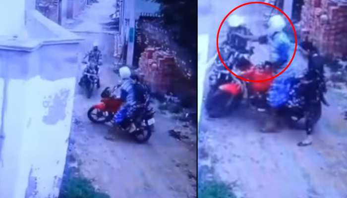 महिला को लेकर जा रहा था शख्स, बाइकवाले में मारी टक्कर तो जड़ दिया जोरदार थप्पड़- देखें CCTV फुटेज