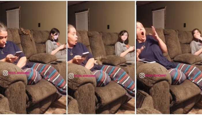Weird Video: सोफे पर बैठकर गपशप कर रही थीं सहेलियां, अचानक आया खतरनाक सांप