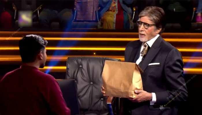 KBC के सेट पर अमिताभ बच्चन बने फूड डिलीवरी बॉय, पैकेट में लेकर आए खाना