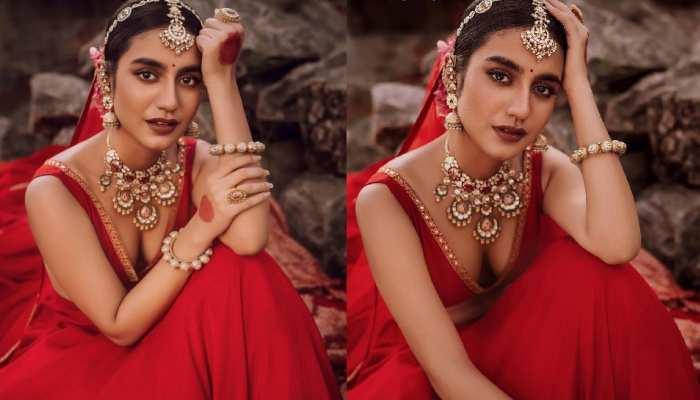 Priya Prakash Varrier bridal shoot deep neck blouse take all attention