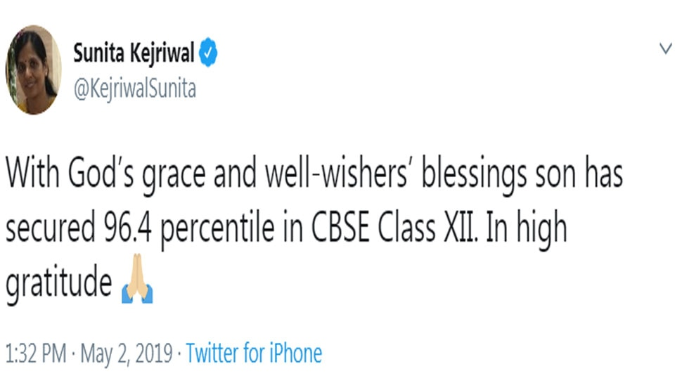 Arvind Kejriwal's son scores 96.4 % in CBSE Class 12 exam