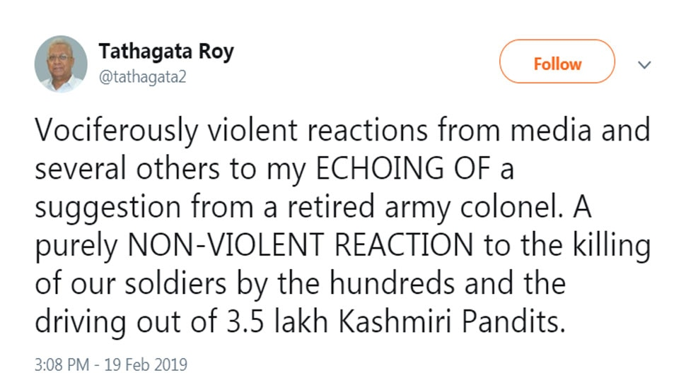 Boycott everything Kashmiri, says Meghalaya Governor Tathagata Roy