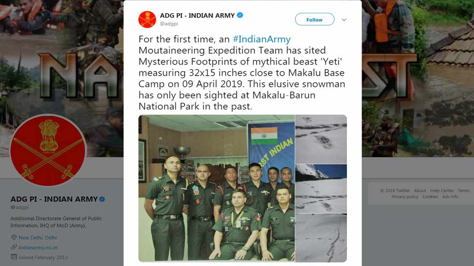 Indian Army Moutaineering Expedition Team has sited Mysterious Footprints of mythical beast snowman Yeti