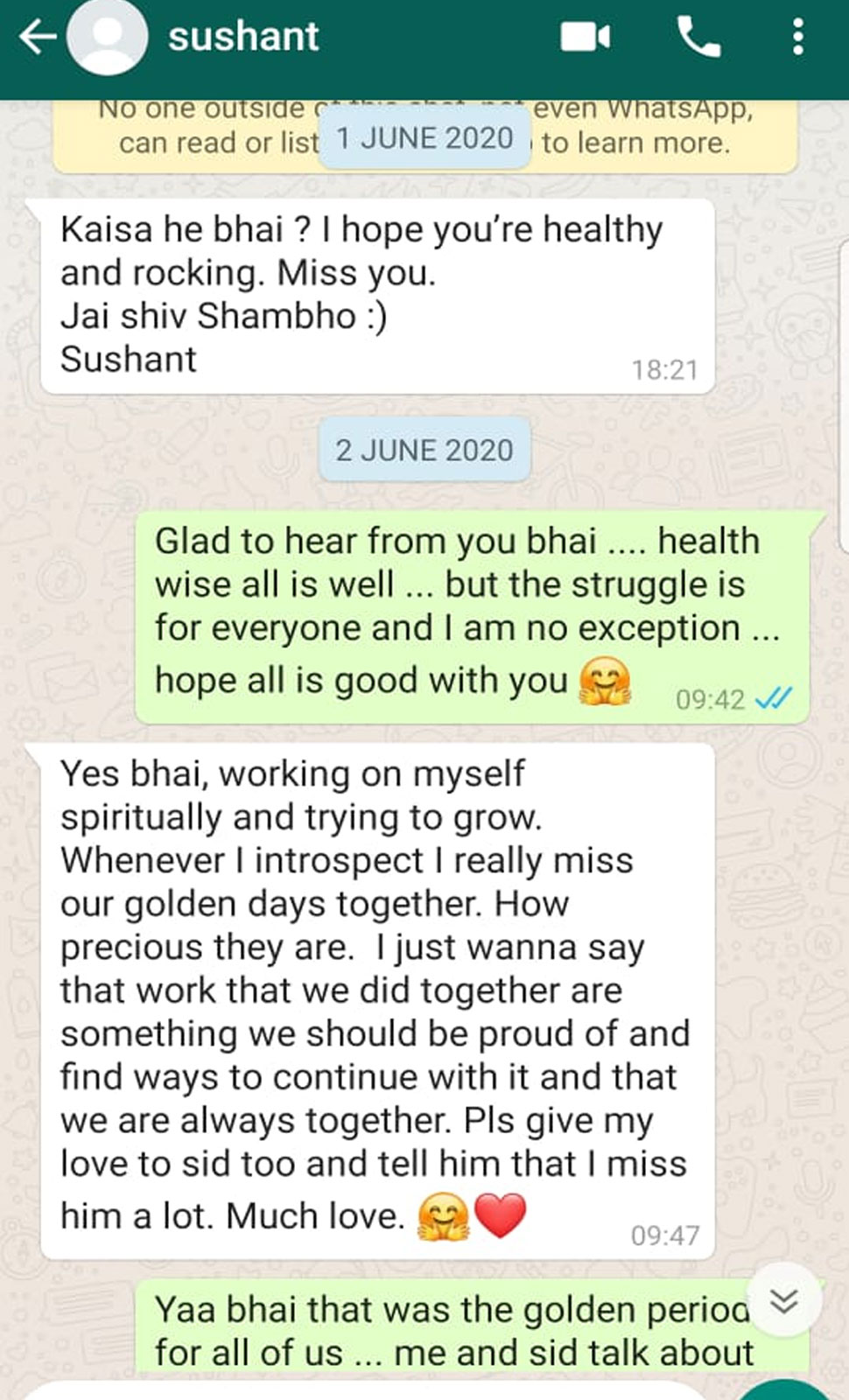 WhatsApp Chat between Sushant singh rajput and his friend Kushal Zhaveri